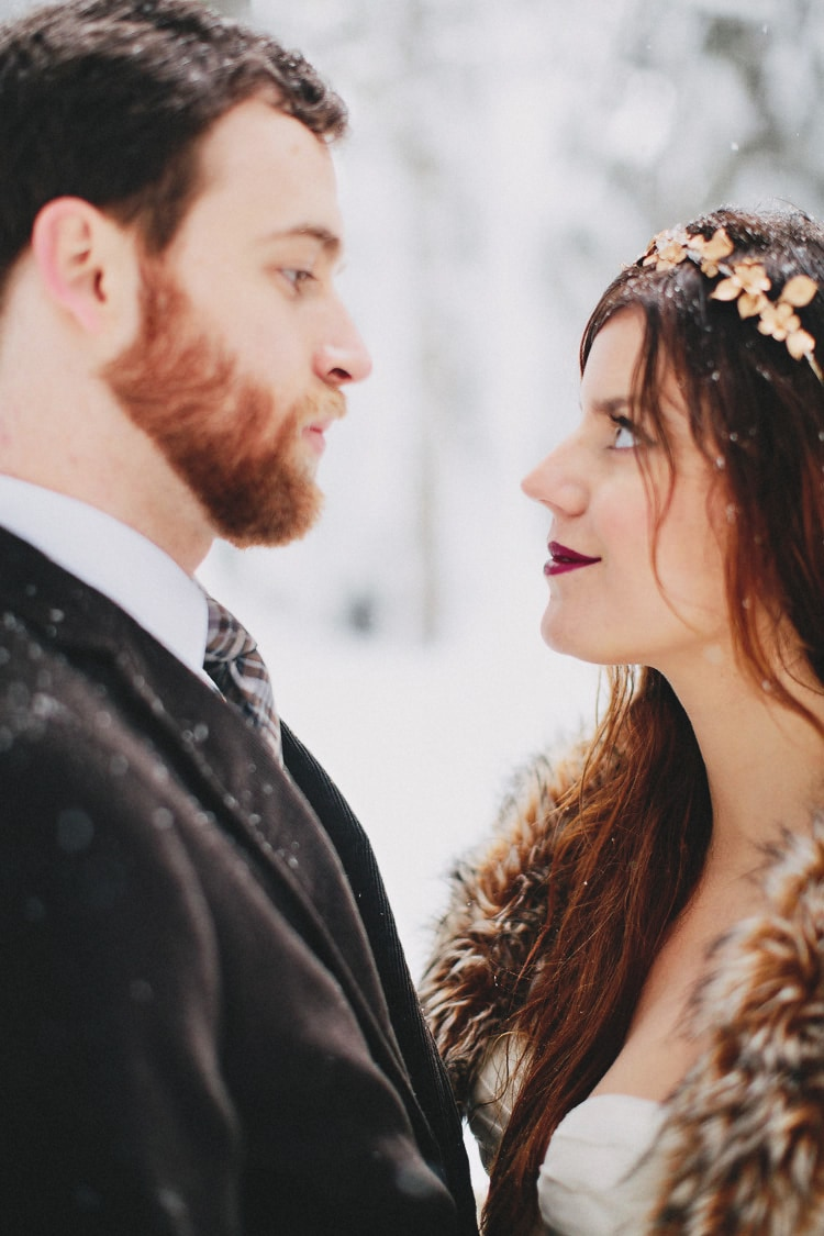 winter wedding snow bride photo