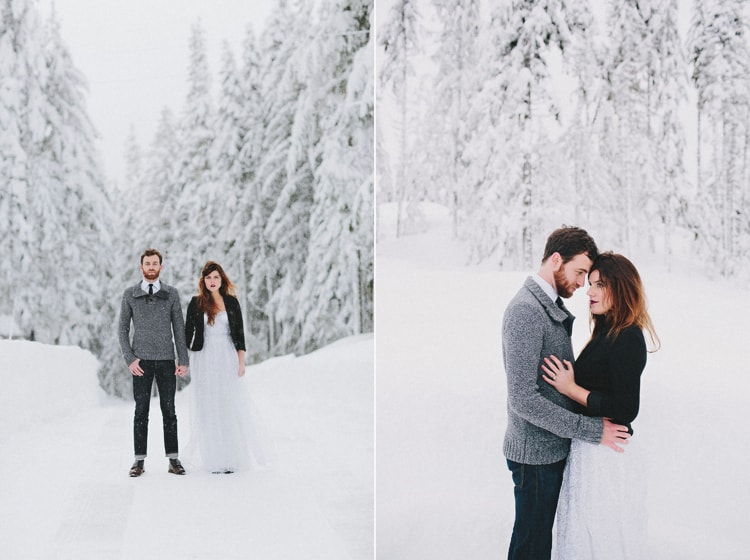 Snow winter wedding portland oregon photo