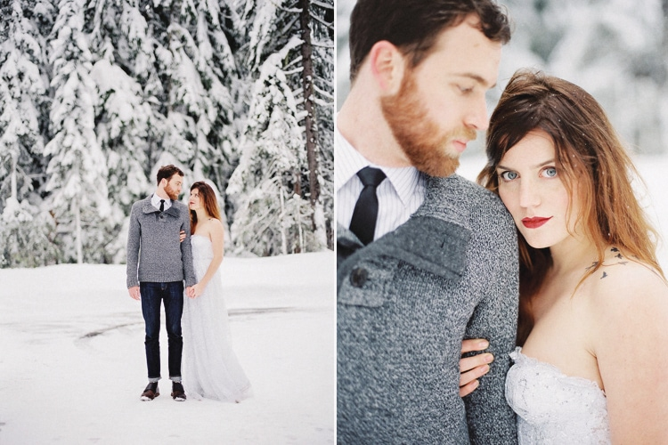 mt hood winter wedding photo