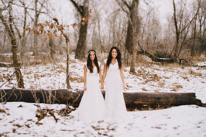 Sisters Bridal Portraits in the Snow
