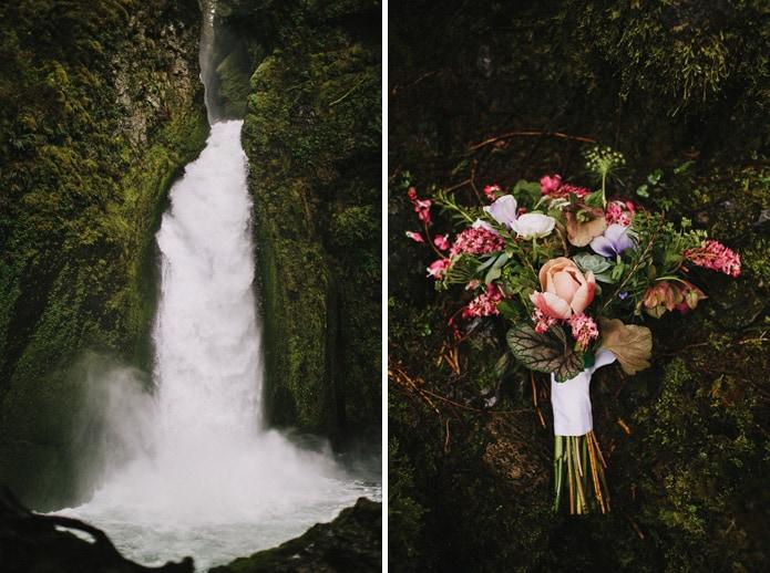oregon waterfall wedding photo