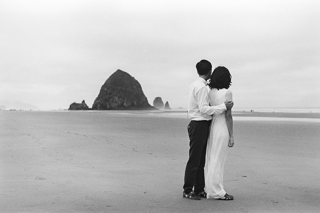 black and white film photo cannon beach