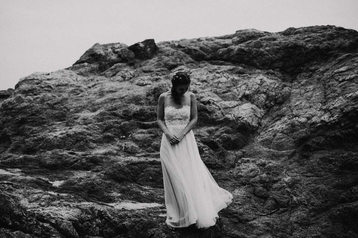 black and white bhldn wedding dress bride photo
