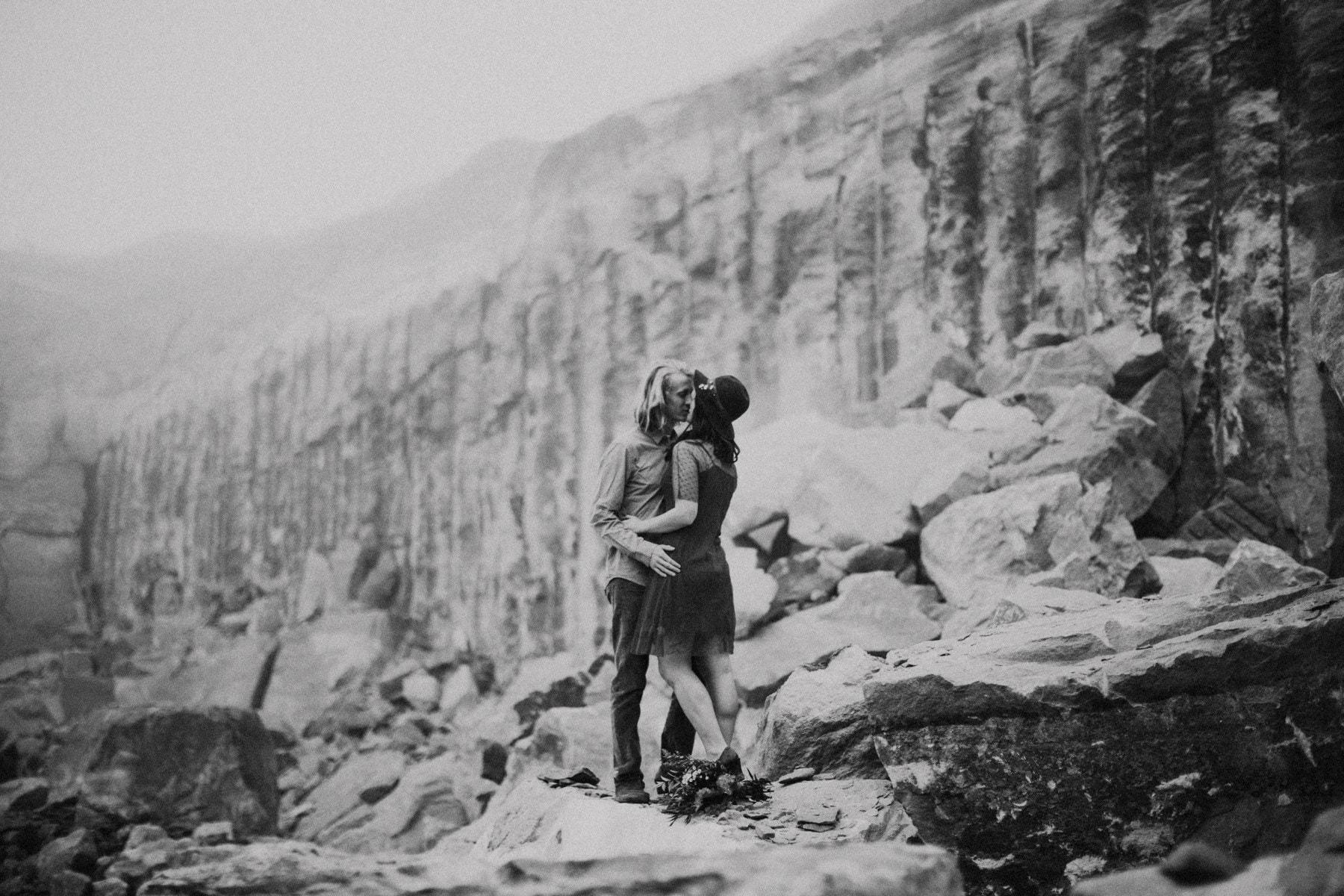 rock quarry portland engagement photo