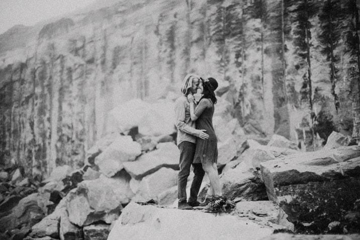 rock quarry engagement photo