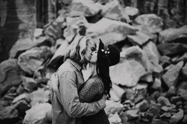 cute hipster couple kissing photo