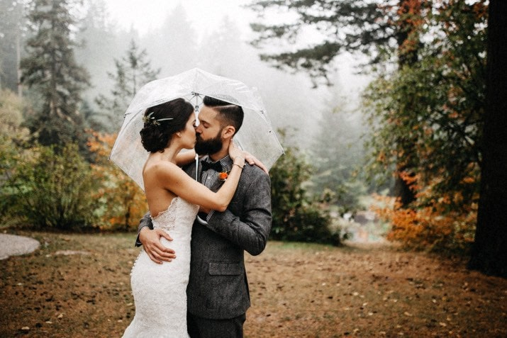 cathedral park wedding in the rain portland photo