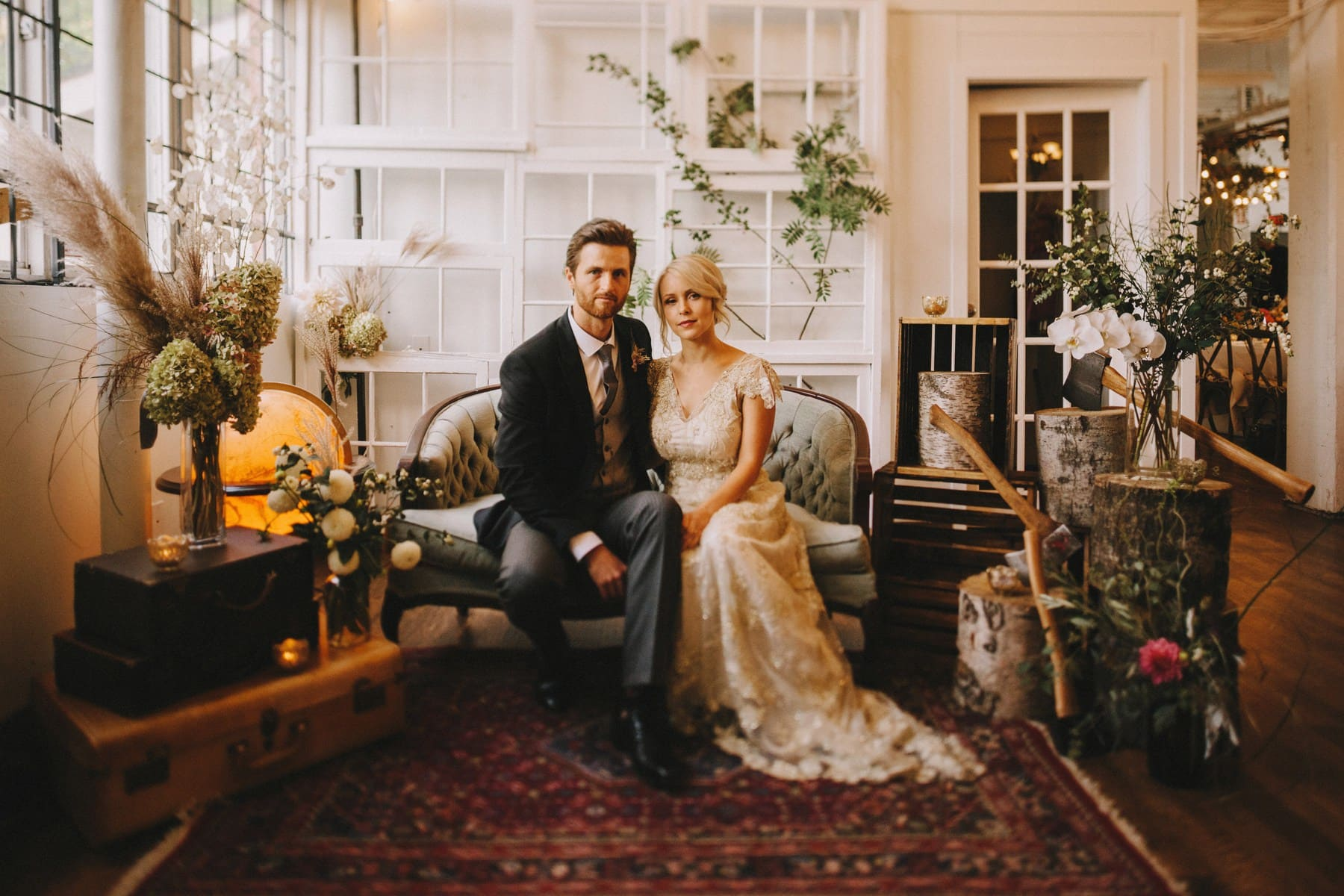 indoor wedding portrait