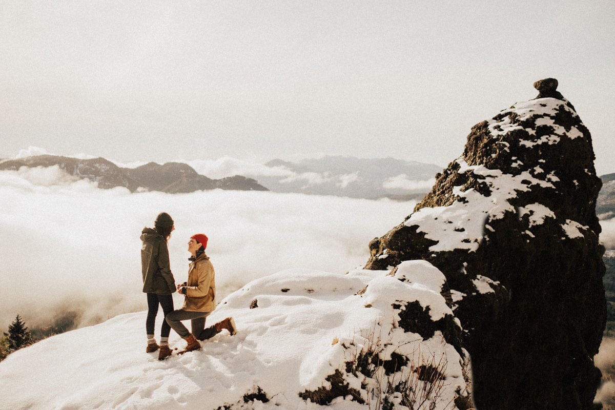 mountaintop engagement photo