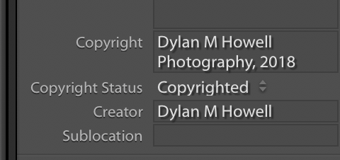 lightroom copyright meta information