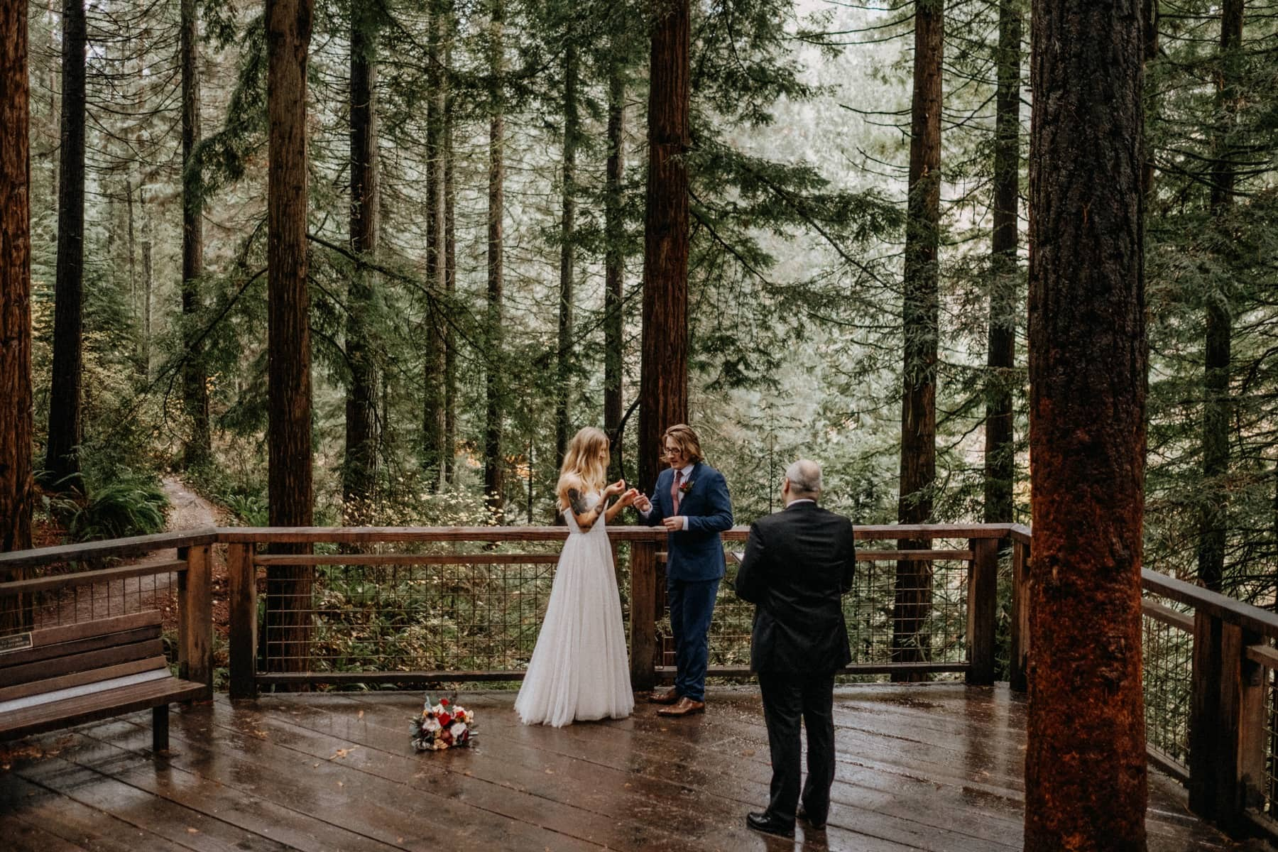 redwood deck hoyt arboretum wedding ceremony photo