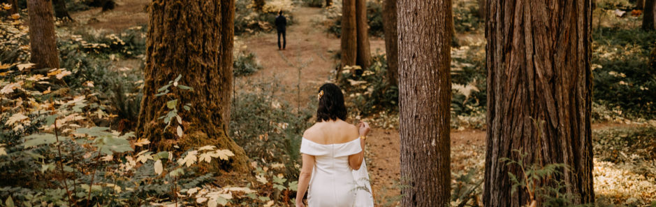 wedding photography second photographer guide image of bride and groom in forest