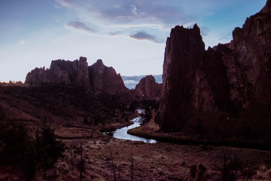 smith rock after sunset