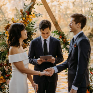 elopement ceremony at loloma lodge in the fall
