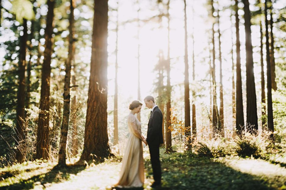 Oregon elopement locations in the forest at sunset outside of Portland